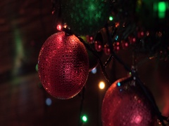 Christmas Tree Decorated, red ball, closeup Stock Footage
