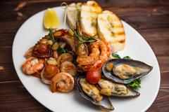 Large plate of seafood Stock Photos