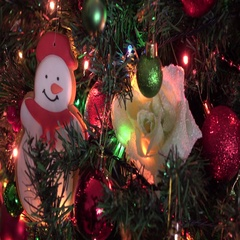 Gingerbreads snowman and christmas tree decorated, christmas decorate, lights Stock Footage