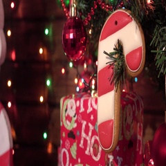 Christmas homemade gingerbread cookies, spice, wooden board Stock Footage