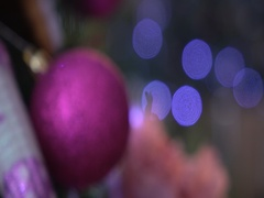 Christmas tree violet balls,christmas decorations, christmas, green, dynamic Stock Footage