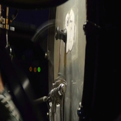 Student learning to play the drums. Bass drum pedal in action Stock Footage