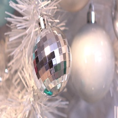 Christmas silver decorations, cam moves to the left Stock Footage