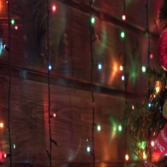 Christmas gingerbread cookies, wooden table, colorful lanterns, cam moves to the Stock Footage