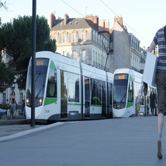 NANTES, FRANCE - JULY 2016 Transport  and traffic on streets in French Stock Footage