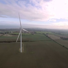 Wind turbine power generator. Clean energy concept. Aerial view Stock Footage