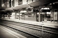 Oslo railroad transport station sepia background Stock Photos