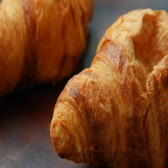 Fresh homemade croissants for breakfast Stock Footage