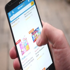 4K Toys Shopping  Online Walmart Website on Smartphone Mobile Device Stock Footage