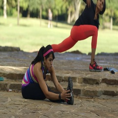 Twin sisters stretching and doing situps in a park Stock Footage