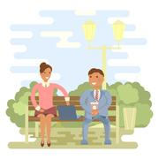 Couple on a park bench Stock Illustration