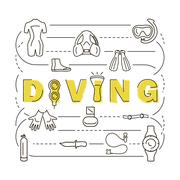 Scuba diving equipment banner Stock Illustration