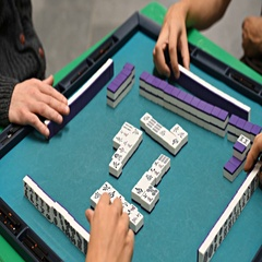 People play Mahjong during the China Day in Pulkovo airport. Stock Footage