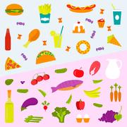 Healthy food and fast food background Piirros