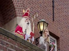 Saint Nicholas speaking to Netherlands children Stock Footage