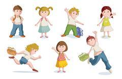 Vector illustration of school children. Piirros