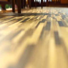 Morning sun shining on Beautiful wood texture vinyl floor, interior material Stock Footage