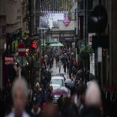 Large crowds of shoppers in London Stock Footage