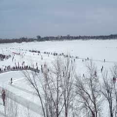 Winter Festival Aerial Crowd Over Frozen Lake Stock Footage
