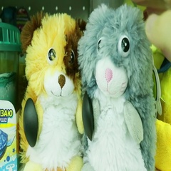 Crazy baby soft toys bouncing with laughter Stock Footage