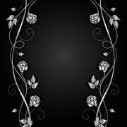 Silver flowers with shadow on dark background Stock Illustration