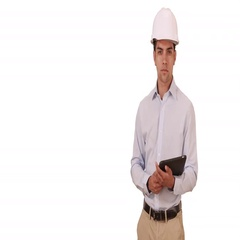 Millennial Latino architect on white background with copyspace wearing hard hat Stock Footage