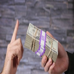4K Closeup Refusing Bribe Corruption Money Stack - Hands Gestures Stock Footage