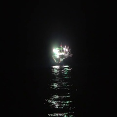Fishing vessel night sea Stock Footage