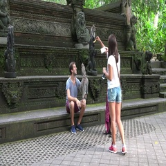 Monkey temple Ubud Bali tourits taking pictures Stock Footage