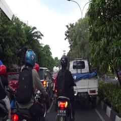 Motorbikes streetlife Indonesia Stock Footage