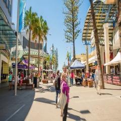4k hyperlapse video of walking along busy pedestrian mall Stock Footage