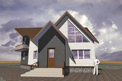 Model residential building constructed in traditional style with modern elements Stock Illustration