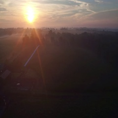 Farm Sunrise Fly Backwards Stock Footage