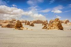 Rock formations in Dunhuang Yardang National Geopark, Gobi Desert, China Stock Photos