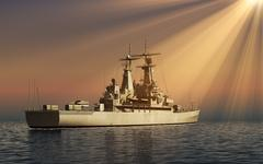 Modern Warship In Rays Of The Sun Stock Illustration