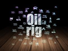 Industry concept: Oil Rig in grunge dark room Stock Illustration