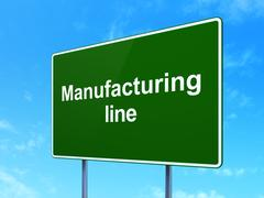 Industry concept: Manufacturing Line on road sign background Piirros