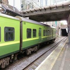 Dart Train Departing Dún Laoghaire Stock Footage