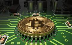 Concept Of Bitcoin Like A Computer Processor On Motherboard Stock Illustration