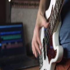 Playing bass guitar slap technique Stock Footage