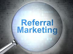 Marketing concept: Referral Marketing with optical glass Stock Illustration