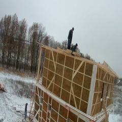 Time-lapse of construction house of straw bales. Installation of walls on the Stock Footage