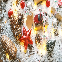 Christmas and New year background with toy car present with ribbon. Balls Stock Footage