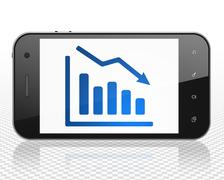 Business concept: Smartphone with Decline Graph on display Stock Illustration