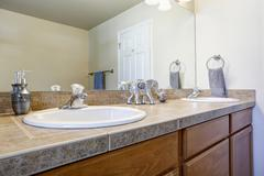 Bathroom double sink vanity cabinet close up. Flat-panel cabinets Stock Photos