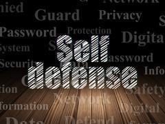 Privacy concept: Self Defense in grunge dark room Stock Illustration