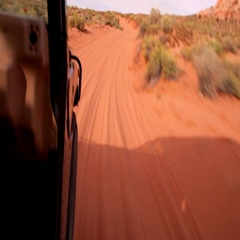 Riding a fast Hummer on the Desert. Stock Footage
