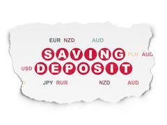 Money concept: Saving Deposit on Torn Paper background Stock Illustration
