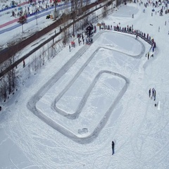 Winter Festival - Studded Bike Race Start Stock Footage