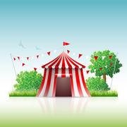Circus Tent in Nature Stock Illustration